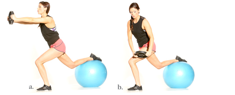 Stability Ball Lunge with Core Rotation