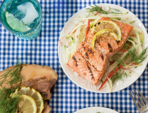 Grilled Lemon-Honey Glazed Salmon with Fennel & Apple Slaw