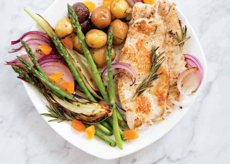 Rosemary Turkey Cutlets with Roasted Fennel, Apricots and Potatoes