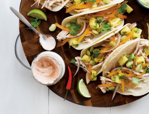 Fava Bean Chicken Tacos and Guacamole
