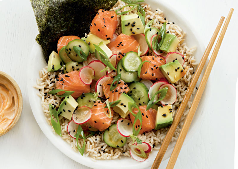 Salmon Poke Bowl with Pickled Cucumbers, Fitness Food Recipes Online