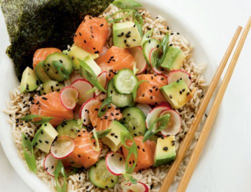 Salmon Poke Bowl with Pickled Cucumbers