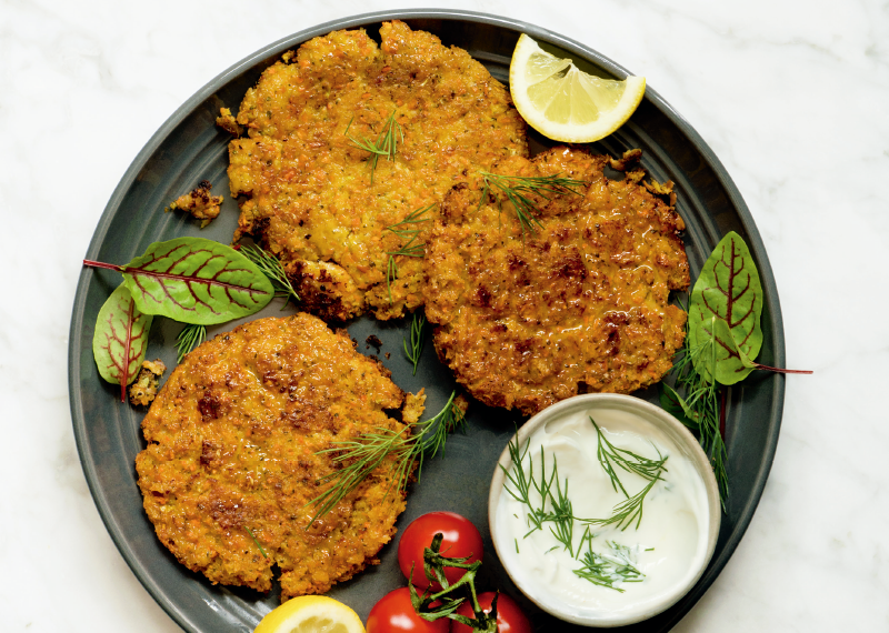 Health and Fitness Recipes - Spaghetti Squash Fritters With Yogurt Dipping Sauce