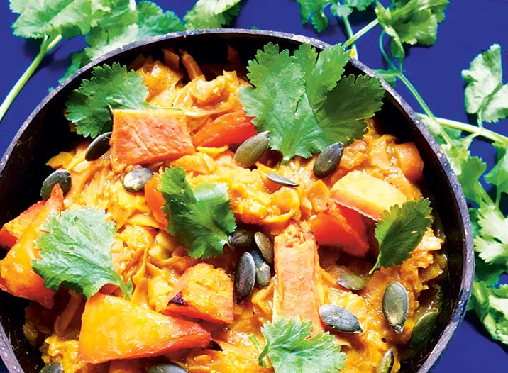 Health and Fitness Recipes - Vegan Sweet Potato Noodles in Butternut Curry Sauce